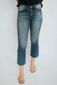 Button Up Mid Rise Cropped Denim Bootcut Jeans