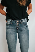 Load image into Gallery viewer, Button Up Mid Rise Cropped Denim Bootcut Jeans