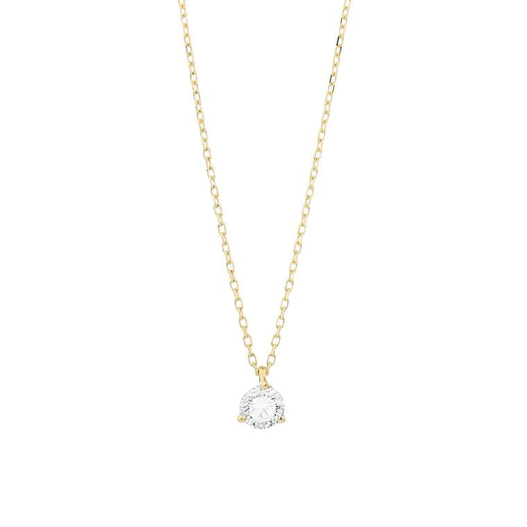 Facet Solitaire Gold Diamond Necklace MOD Jewellery
