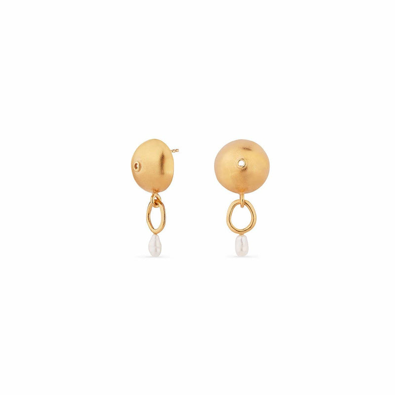 Inês Telles Azura Gold Plated Pearl Earrings MOD Jewellery - 24k Gold plated silver