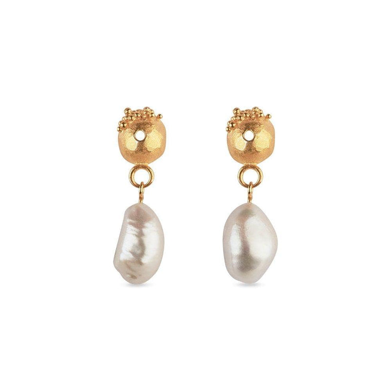 Inês Telles Lorena Gold Plated Pearl Earrings MOD Jewellery - 24k Gold plated silver