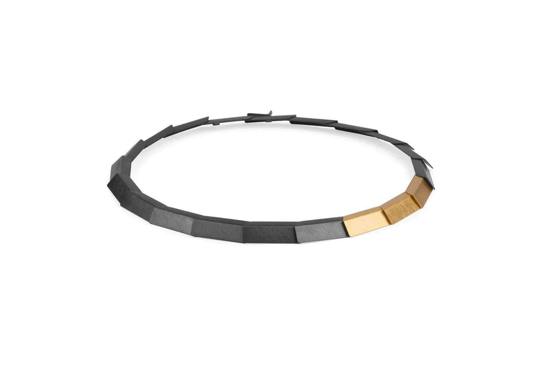Zaremski Tile Necklace MOD Jewellery - Oxidised & Gold plated silver