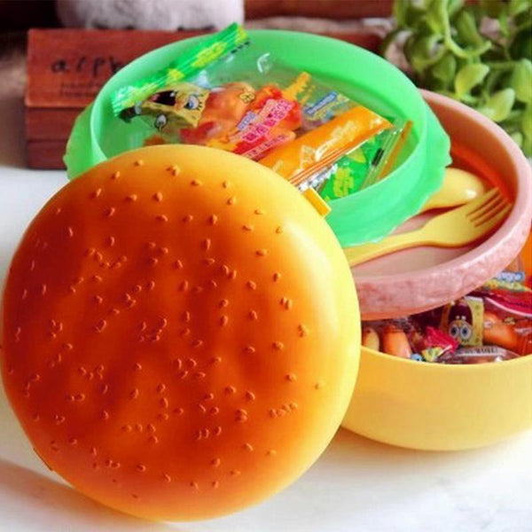 Burger Hamburger Shape Round Lunch Boxs For Kids Food Containers Japanese Bento Sushi Set Lunchbox Healthy Plastic Food Box