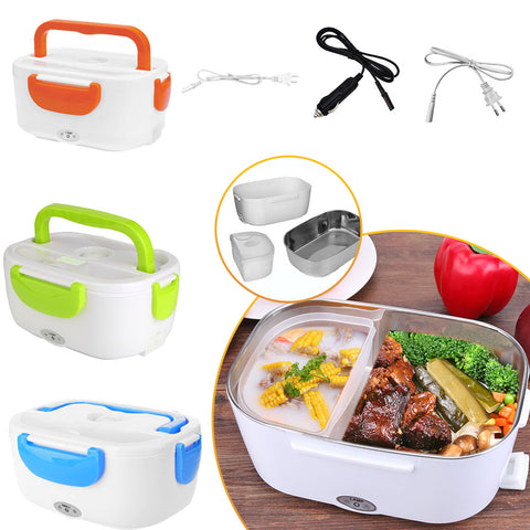 2 in 1 Car& Home Electric Heated Lunch Box Portable 12V 110V 220V Bento Boxes Food Heater Rice Container US Plug/EU Plug