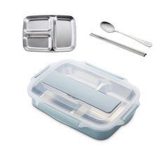 Stainless Steel 304 Lunch Box With Spoon Leak-proof Lunch Bento Boxes Dinnerware Set Microwave Adult Children Food Container