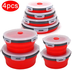 Round Silicone Folding Lunch Box Set Microwave Folding Bowl Portable Folding Food Container Box Salad Snack Bowl With Lid