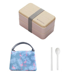 Microwave Double Layer Lunch Box Wooden Bento Box Portable Container Box BPA Free