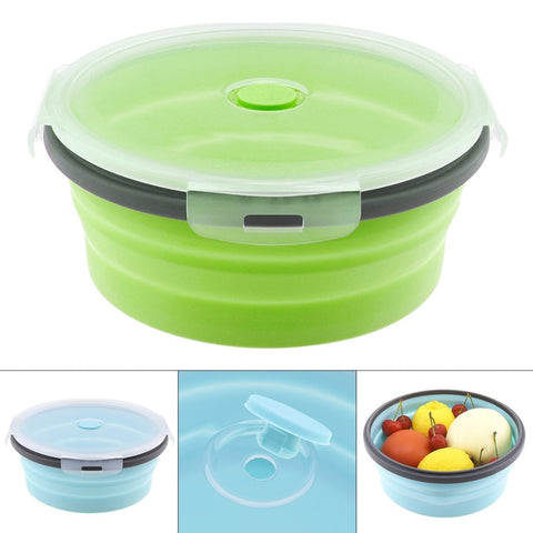 Silicone Lunch-Box Round Folding Food Container Portable Bowl 350ML/500ML/800ML/1200ML Two Colors Bento-box Eco-Friendly