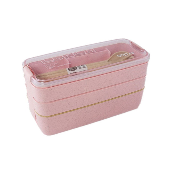 900ml 3 Layers Lunch Box Bento Food Container Eco-Friendly Wheat Straw Material Microwavable Dinnerware Lunchbox 600 Ml Soup Box