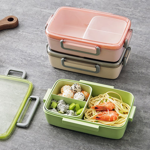 MeyJig Microwave Lunch Box Leak-Proof Independent Lattice Bento Lunch Box for Kids Bento Box Portable Food Container