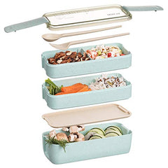 Health Material 3 Layers Lunch Box Microwavable Japanese Bento Food Container Eco-Friendly Wheat Straw 900ml Lunchbox