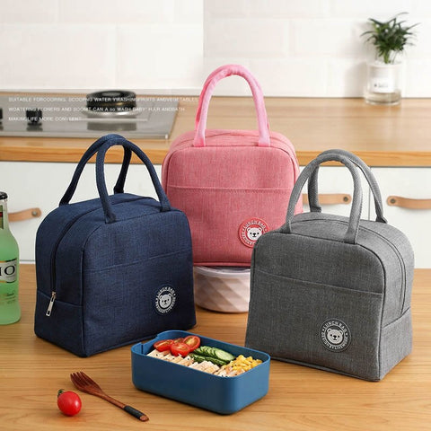 Fresh Lunch Bags For Women Kids Girl Waterproof Portable Zipper Thermal Oxford Cooler Bag Convenient Lunch Box Tote Food BBQ Bag