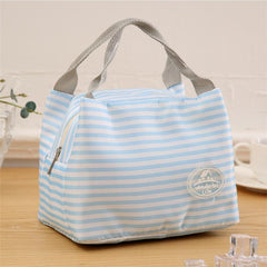 Newest Lunch Bag Insulated Cold Canvas Stripe Picnic Carry Case Thermal Portable Lunch Box