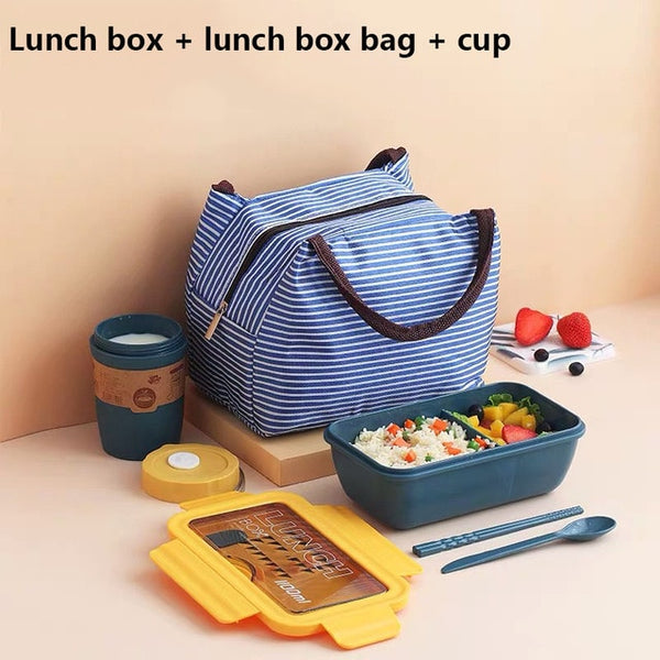 New Microwave  Lunch Box with Compartments Portable Bento Box Japanese Style Leakproof Food Container for Kids with Tableware