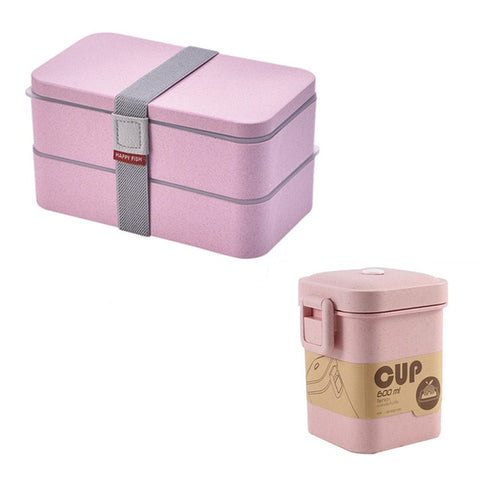 1200ml Wheat Straw Double Layers Lunch Box With Spoon Healthy Material Bento Boxes Microwave Food Storage Container Lunchbox