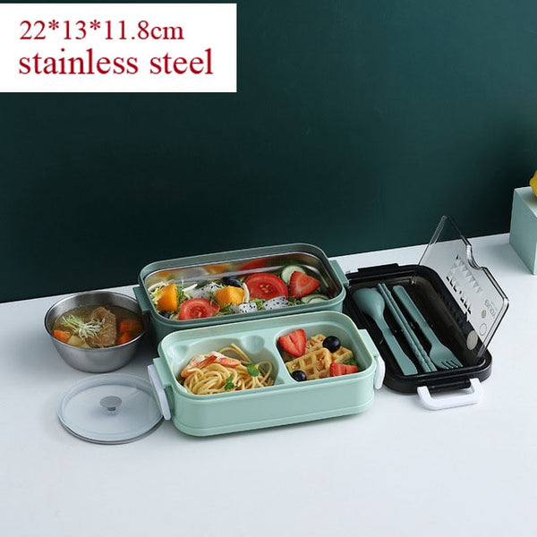 304 Stainless Steel Lunch Box Bento Box For School Kids Office Worker 2layers Microwae Heating Lunch Container Food Storage Box
