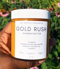 Load image into Gallery viewer, Shimmer butter, whipped butter, glow oil, shea butter, organic shea butter, organic whipped butter, glow oil, shimmer oil. bronzing oil, bronzing butter.