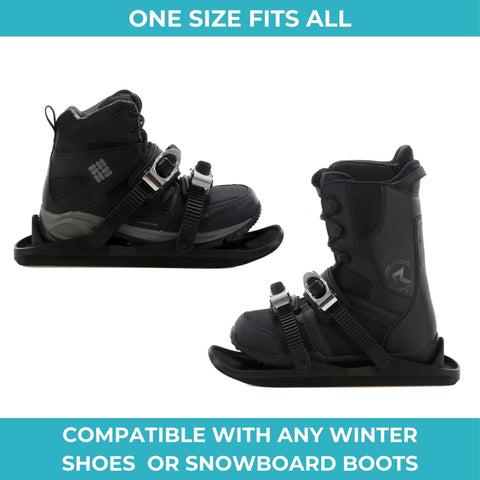 Snowfeet - Mini skis, One size fits all, compatible with any winter shoes or snowboard boots.