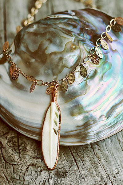 Bone Feather on Leaf Chain - Mermaid Soul Necklace by Sage - The Sage Lifestyle