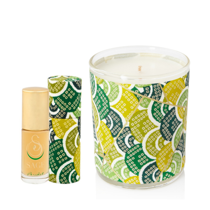 ESSENTIALS ~ Peridot Gemstone Perfume Roll On and Candle Gift Set by Sage - The Sage Lifestyle