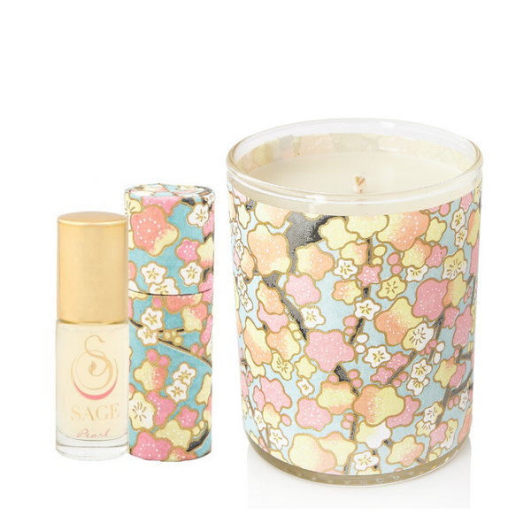 ESSENTIALS ~ Pearl Gemstone Perfume Roll On and Candle Gift Set by Sage