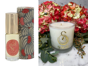 ESSENTIALS ~ Carnelian Gemstone Perfume Roll-On and Candle Gift Set by Sage - The Sage Lifestyle