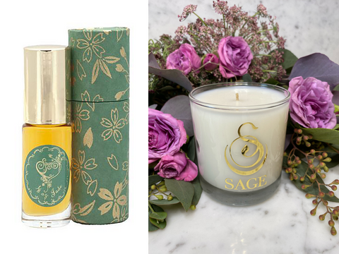 ESSENTIALS ~ Jade Gemstone Perfume Roll-On and Candle Gift Set by Sage - The Sage Lifestyle