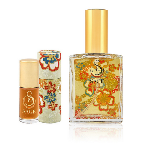 INDULGE ~ Amber Gemstone Perfume Roll-On and EDT Gift Set by Sage - The Sage Lifestyle