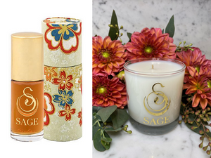 ESSENTIALS ~ Amber Gemstone Perfume Roll-On and Candle Gift Set by Sage - The Sage Lifestyle