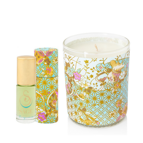 ESSENTIALS ~ Turquoise Gemstone Perfume Roll On and Candle Gift Set by Sage - The Sage Lifestyle