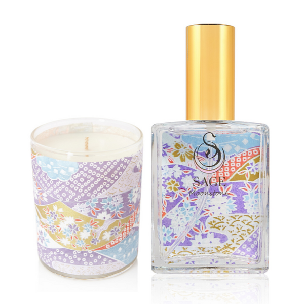 MY ABODE ~ Moonstone Gemstone Perfume EDT and Candle Gift Set by Sage - The Sage Lifestyle
