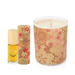 ESSENTIALS ~ Topaz Gemstone Perfume Roll-On and Candle Gift Set by Sage - The Sage Lifestyle