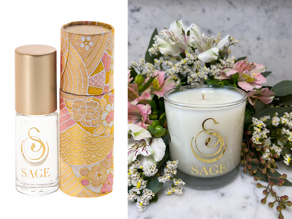 ESSENTIALS ~ Diamond Perfume Roll-On and Candle Gift Set by Sage - The Sage Lifestyle