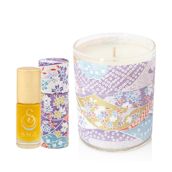 ESSENTIALS ~ Moonstone Gemstone Perfume Roll-On and Candle Gift Set by Sage - The Sage Lifestyle