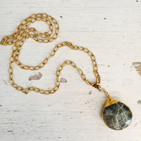 Moss Green Agate Y Necklace by Sage, Green Agate Tier Drop Pendant Necklace on Gold Chain by Sage Machado
