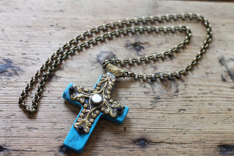 Blue Magic One of a kind Vintage Tibetan Cross Pendant Necklace by Sage - The Sage Lifestyle