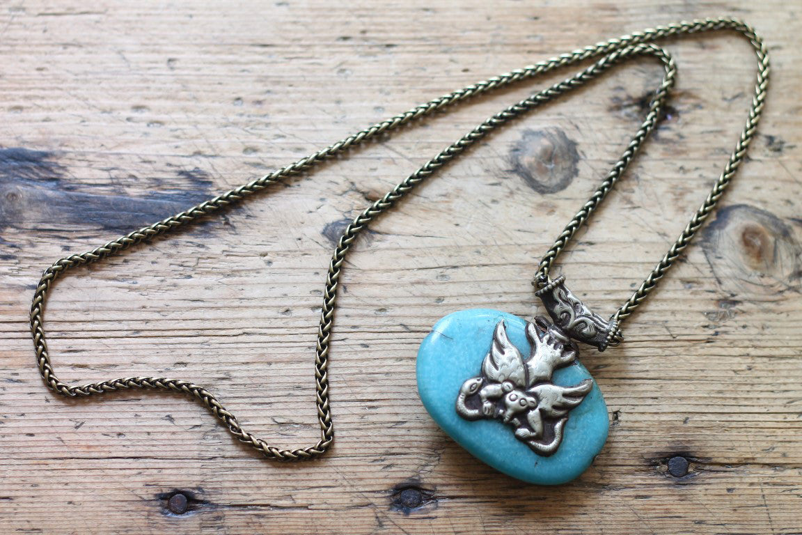 Evolution of the Dragon One of a Kind Vintage Tibetan Double Sided Animal Pendant Necklace by Sage - The Sage Lifestyle