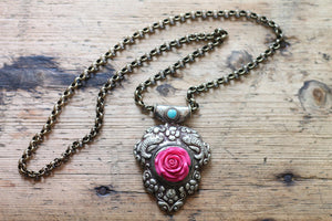 Tibetan Rose One of a kind Vintage Tibetan Pendant Necklace by Sage - The Sage Lifestyle