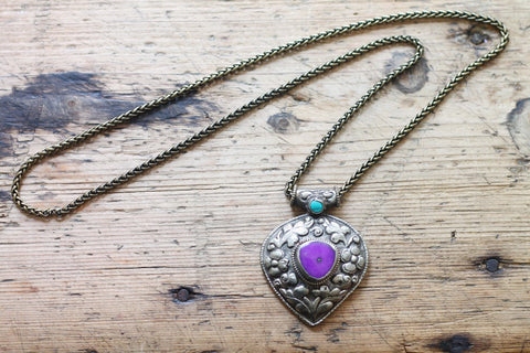 Spell of the Goddess One of a kind Vintage Tibetan Double Sided Purple Jade Pendant Necklace by Sage