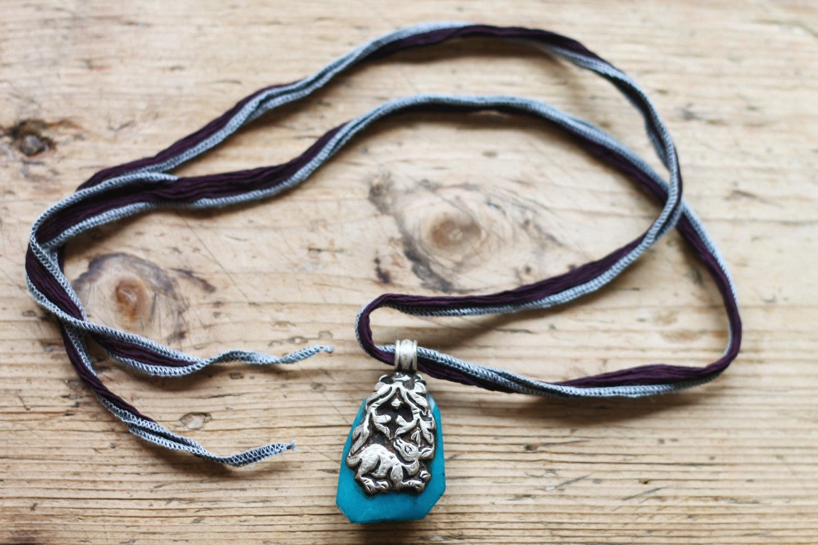 The Little Deer One of a kind Vintage Tibetan Double Sided Animal Pendant Necklace by Sage - The Sage Lifestyle