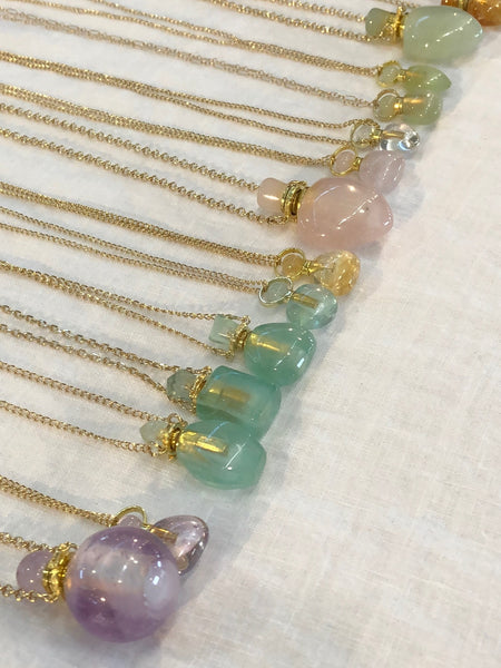 Jade Chloe Gemstone Perfume Bottle Gold Necklace by Sage Machado - The Sage Lifestyle