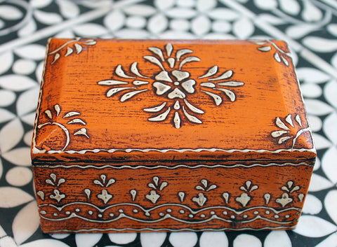 Handmade Wooden Jewelry Box in Orange - Medium