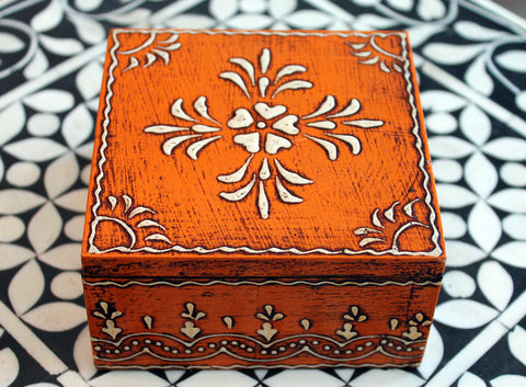 Handmade Wooden Jewelry Box in Orange  - Large - The Sage Lifestyle