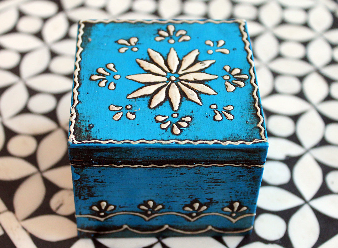 Handmade Wooden Jewelry Box in Blue - Small - The Sage Lifestyle