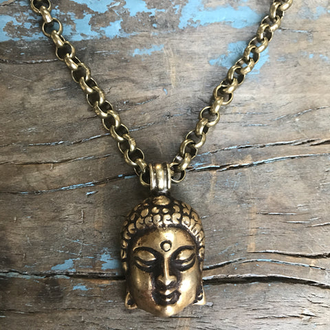 Brass Buddah on Brass Chain with Citrine Drop at Clasp by Sage Machado