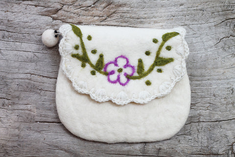 White Flower Felted Wool Purse - The Sage Lifestyle