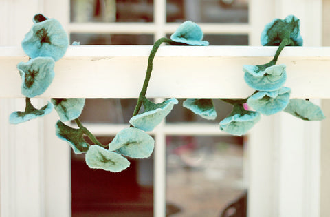 Sky Blue Felted Wool Flower Garland