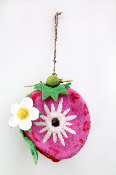 Strawberry Felt birdhouse / Objet D'Art for Wall - The Sage Lifestyle