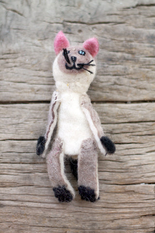 Siamese cat Felted Wool Finger Puppet Animal Toy