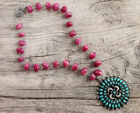Circa 1960 Native American Arizona Turquoise Medallion on Raw Rubies, One of a Kind Necklace by Sage